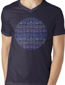 Cute robots stripes pattern Mens V-Neck T-Shirt