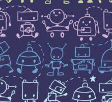 Cute robots stripes pattern Sticker