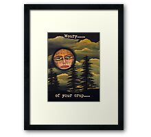Original Art Work by Angieclementine - moon - weary of your crap Framed Print