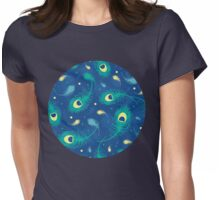 Flying peacock feathers pattern Womens Fitted T-Shirt