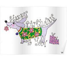 sausage birthday card Poster