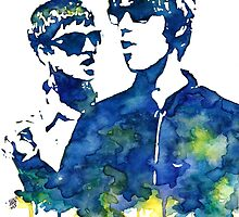 Liam and Noel Gallagher Watercolor Stencil by Haleymoon