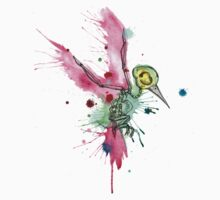 Hummingbird Skeleton Watercolor/Pen&Ink One Piece - Short Sleeve