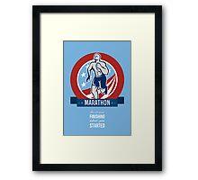American Marathon Runner Retro Poster Framed Print