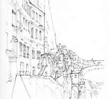 Vertical Amalfi Pencil and Ink Sketch by Dai Wynn