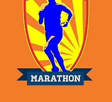 Marathon Runner Starting Run Retro Poster by patrimonio