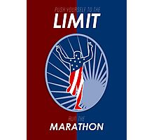 Run Marathon Push Limits Retro Poster Photographic Print