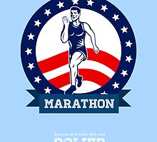 American Marathon Runner Power Poster by patrimonio