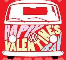 Valentine's Day VW Camper Bay Hearts by splashgti