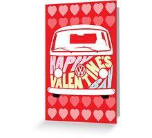 Valentine's Day VW Camper Bay Hearts Greeting Card