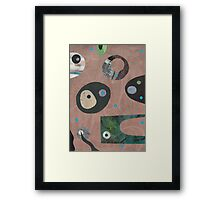 Retro Collage Pale Teracotta Framed Print