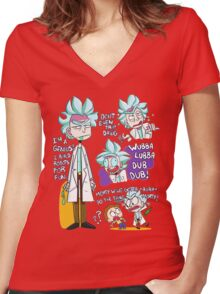 Doctor Rick Quote Collage Women's Fitted V-Neck T-Shirt