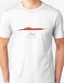 Perth skyline in red T-Shirt