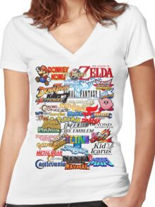 Retro Nintendo Titles  Women's Fitted V-Neck T-Shirt