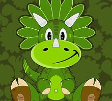 Cartoon Triceratops Dinosaur by MurphyCreative