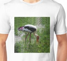 PAINTED FEMALE STORK BIRD-VERSION ONE--VARIOUS APPAREL,JOURNALS,PILLOWS,TOTE BAGS,SCARF,ECT.. Unisex T-Shirt