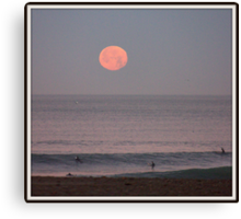 Moon-set at Ocean Beach Canvas Print