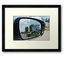 Eras in the mirror are closer than they appear Framed Print