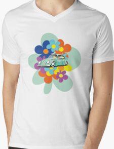 VW Beetle Flower Bug Mens V-Neck T-Shirt