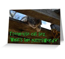 Treehouse Cat Greeting Card