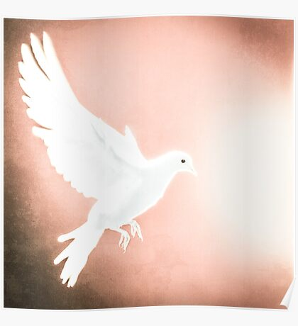 Dove in Flight Red Poster