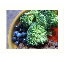 Blueberry & Broccoli Art Print