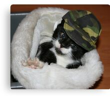 Army Kitty Canvas Print