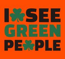 I see green people shamrock Kids Tee