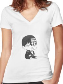 Death the Baby Women's Fitted V-Neck T-Shirt