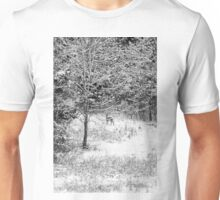 Peering Out - Deer BW Unisex T-Shirt