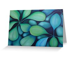 Blue Green Leaves Greeting Card