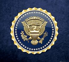 Presidential Service Badge - PSB 3D on Blue Velvet by Captain7