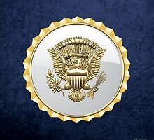 Vice Presidential Service Badge 3D on Blue Velvet by Captain7