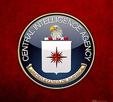 Central Intelligence Agency - CIA Emblem 3D on Red Velvet by Captain7