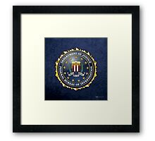 Federal Bureau of Investigation - FBI Emblem 3D on Blue Velvet Framed Print