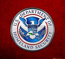 Department of Homeland Security - DHS Emblem 3D on Red Velvet by Captain7
