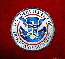 Department of Homeland Security - DHS Emblem 3D on Red Velvet by Captain7