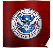 Department of Homeland Security - DHS Emblem 3D on Red Velvet Poster