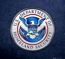 Department of Homeland Security - DHS Emblem 3D on Blue Velvet by Captain7