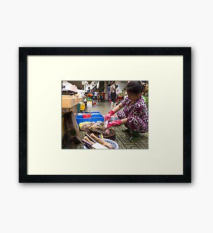 preparing fish Framed Print
