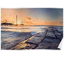 Galveston Beach Sunrise Poster