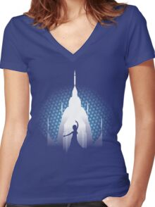 The Cold Never Bothered Me Anyway Women's Fitted V-Neck T-Shirt