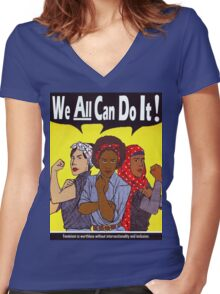 We Can Do It Women's Fitted V-Neck T-Shirt