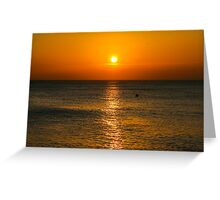 Brighton beach at sunset Greeting Card