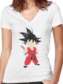 Little Saiyan Drawing Women's Fitted V-Neck T-Shirt