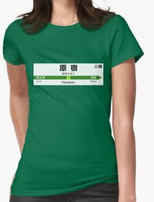 Yamanote Line - Harajuku 山手線 名看板 原宿駅 Womens Fitted T-Shirt