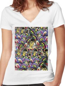 DOODLE FASHION  Women's Fitted V-Neck T-Shirt