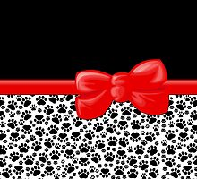 Dog Paws, Traces -  Ribbon and Bow - White Black Red by sitnica