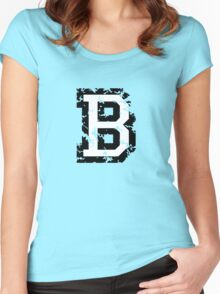 Letter B (Distressed) two-color black/white character Women's Fitted Scoop T-Shirt