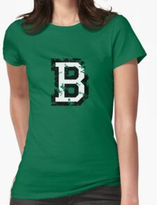 Letter B (Distressed) two-color black/white character Womens Fitted T-Shirt